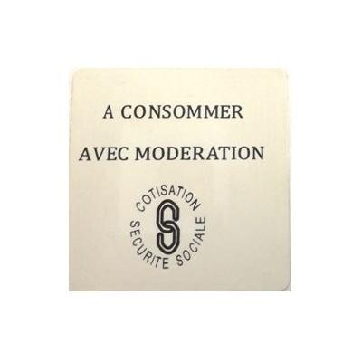 """Etiquette RF 8,2 Mhz 40x40 mm """"A CONSOMMER AVEC MODERATION"""""""